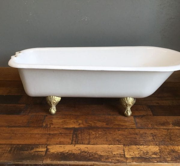 White Cast Iron Bath & Gold Feet