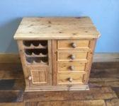 Pine Kitchen Cabinet & Wine Rack
