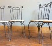Iron & Oak Set of Four Chairs