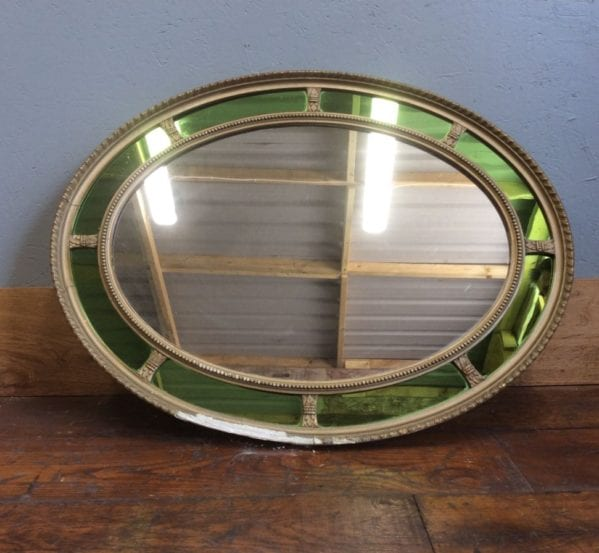Colourful Green Glass Oval Mirror