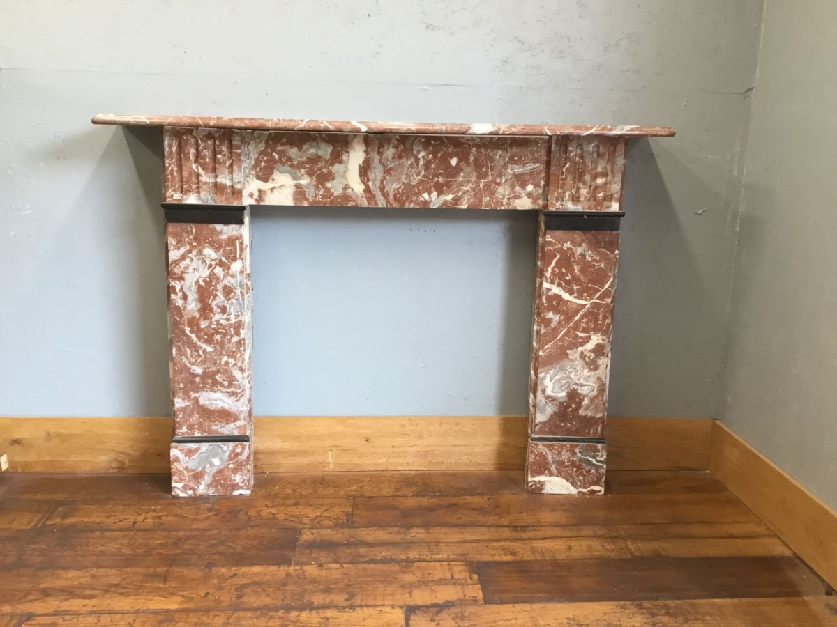 Red Marble Fire Surround Authentic Reclamation