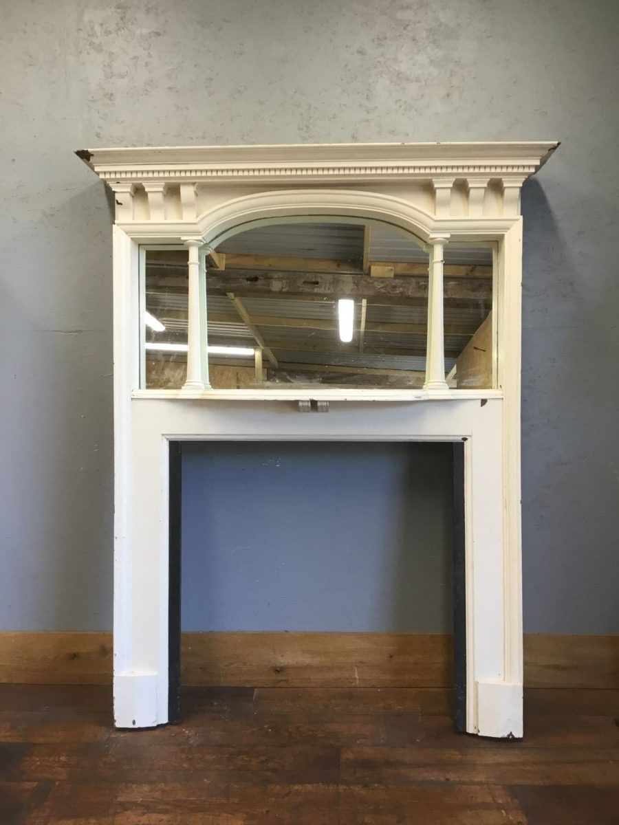 Large Wooden Fire Surround & Overmantel