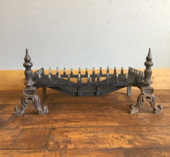 Large Fire Basket & Ornate Fire Dogs