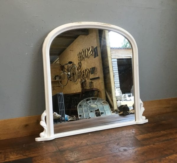 Large White Overmantel Mirror
