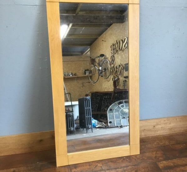 Large Light Wood Framed Mirror