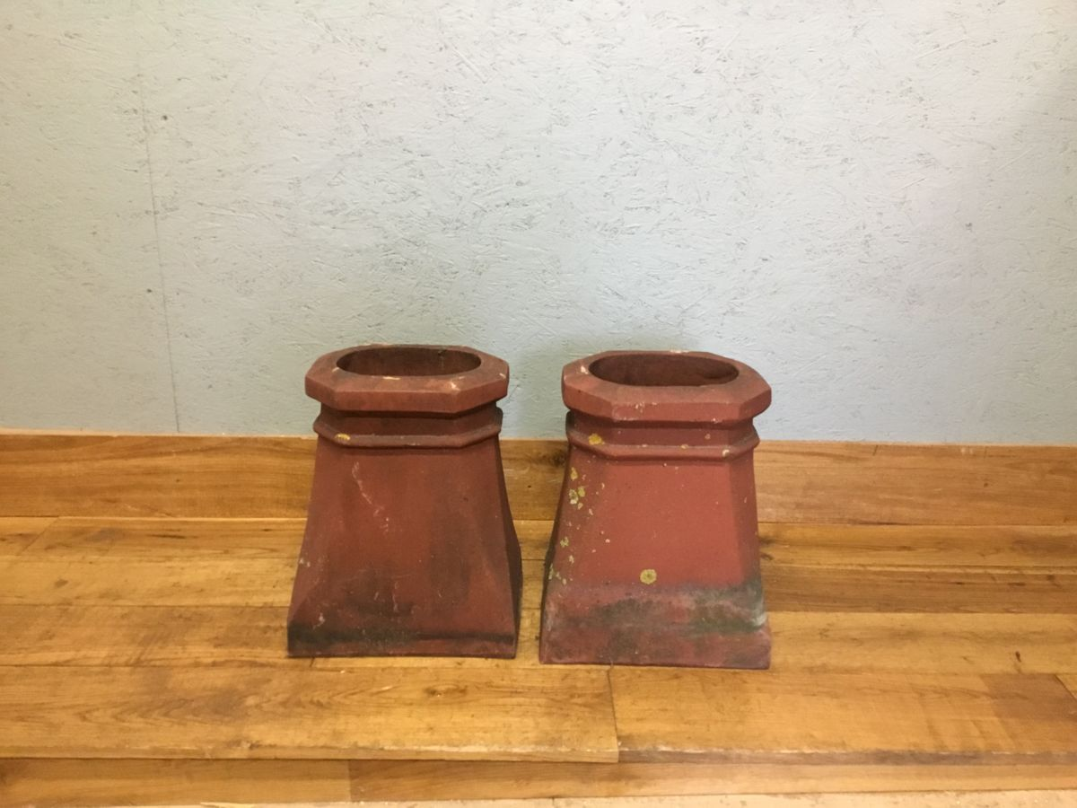 Square Based Terracotta Chimney Pots (Pair)