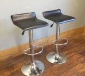 Black Seat Metal Bar Stool Pair