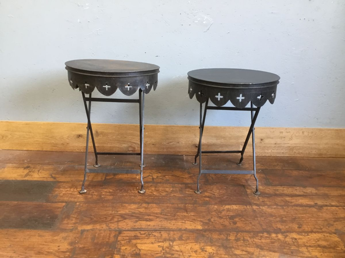 Black Metal Collapsible Side Tables