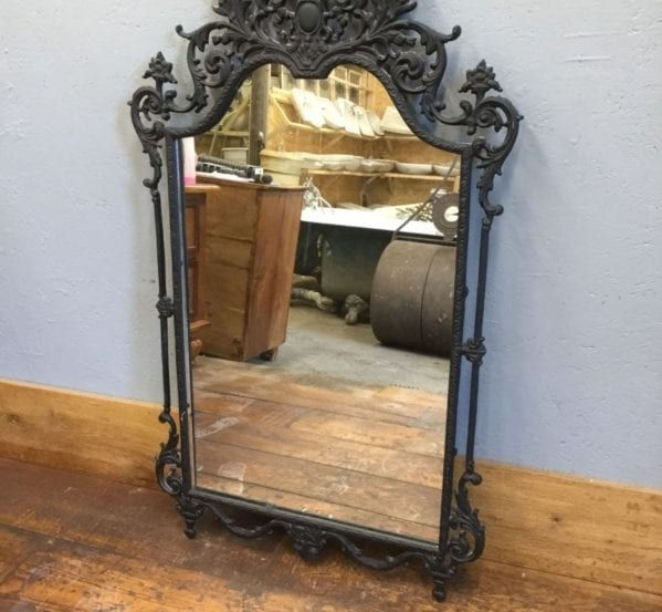 Ornate Black Metal Framed Mirror