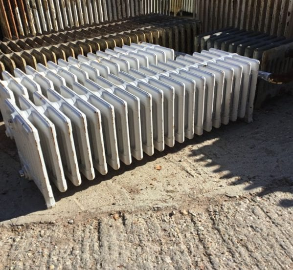 9 Bar White Painted Reclaimed Radiator