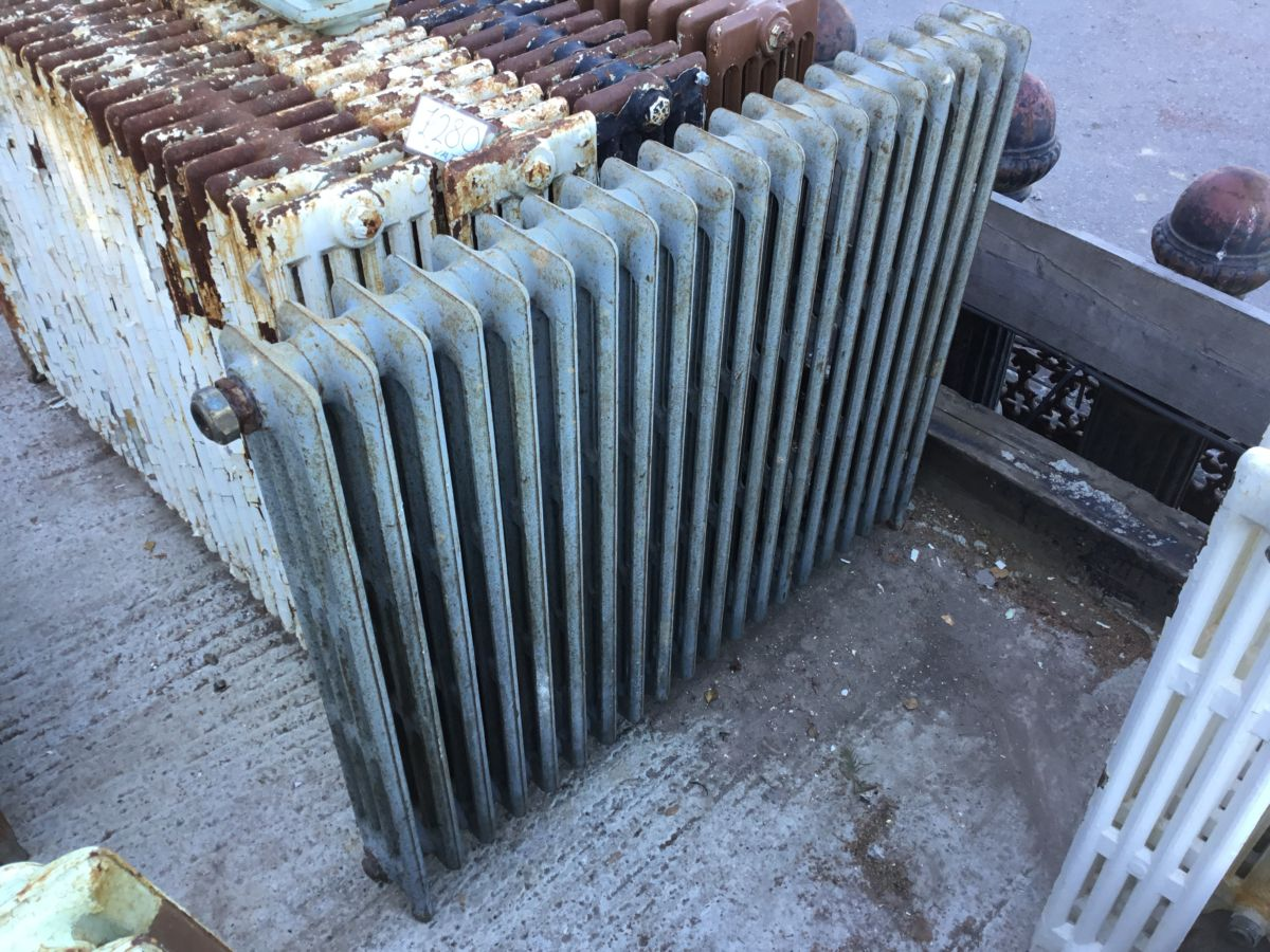 Large 4 Bar Reclaimed Grey Radiator