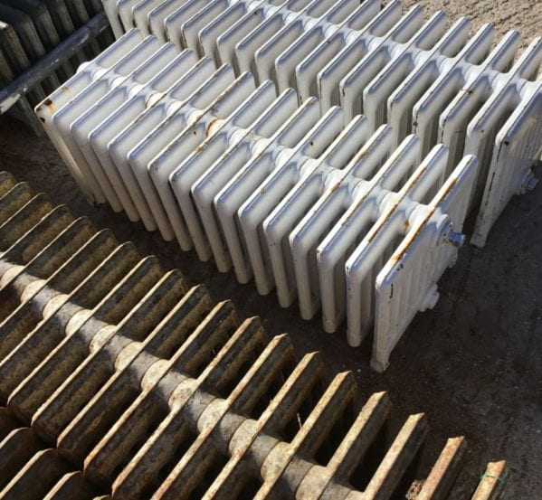 White Painted 9 Bar Reclaimed Radiator