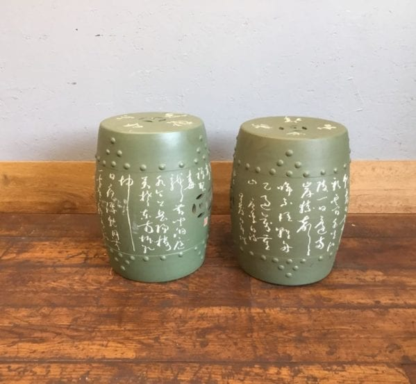 Green Chinese Printed Ceramic Stools
