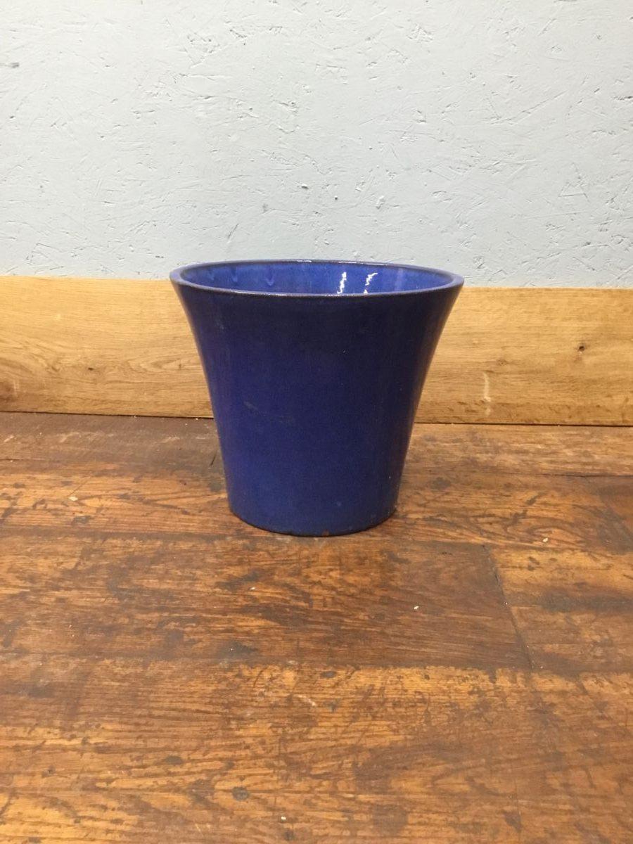 Blue Glazed Plant Pot