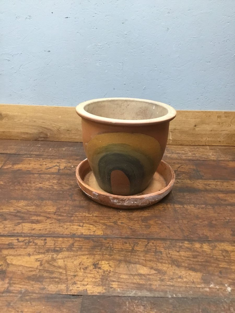 Rainbow Painted Brown Pot