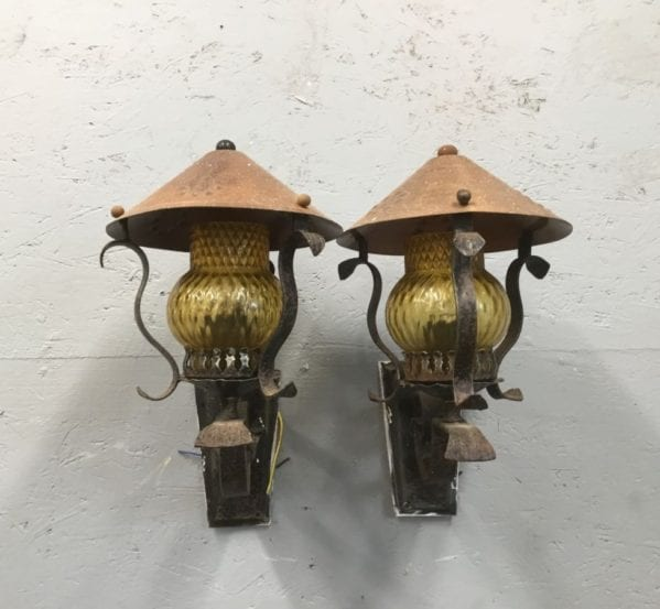 Outdoor Wall Mounted Yellow Glass Lanterns