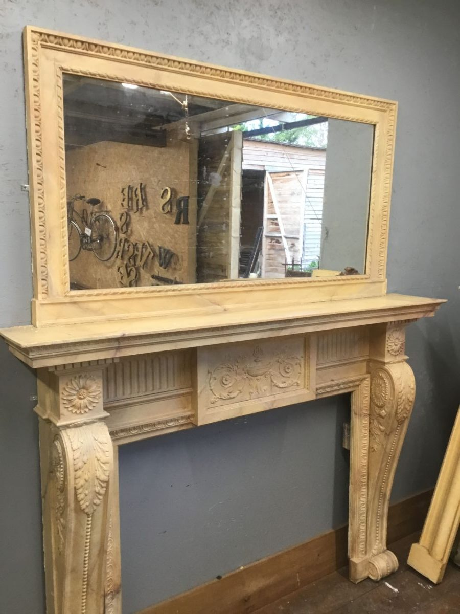 Large Marble Effect Fire Surround & Overmantel Mirror