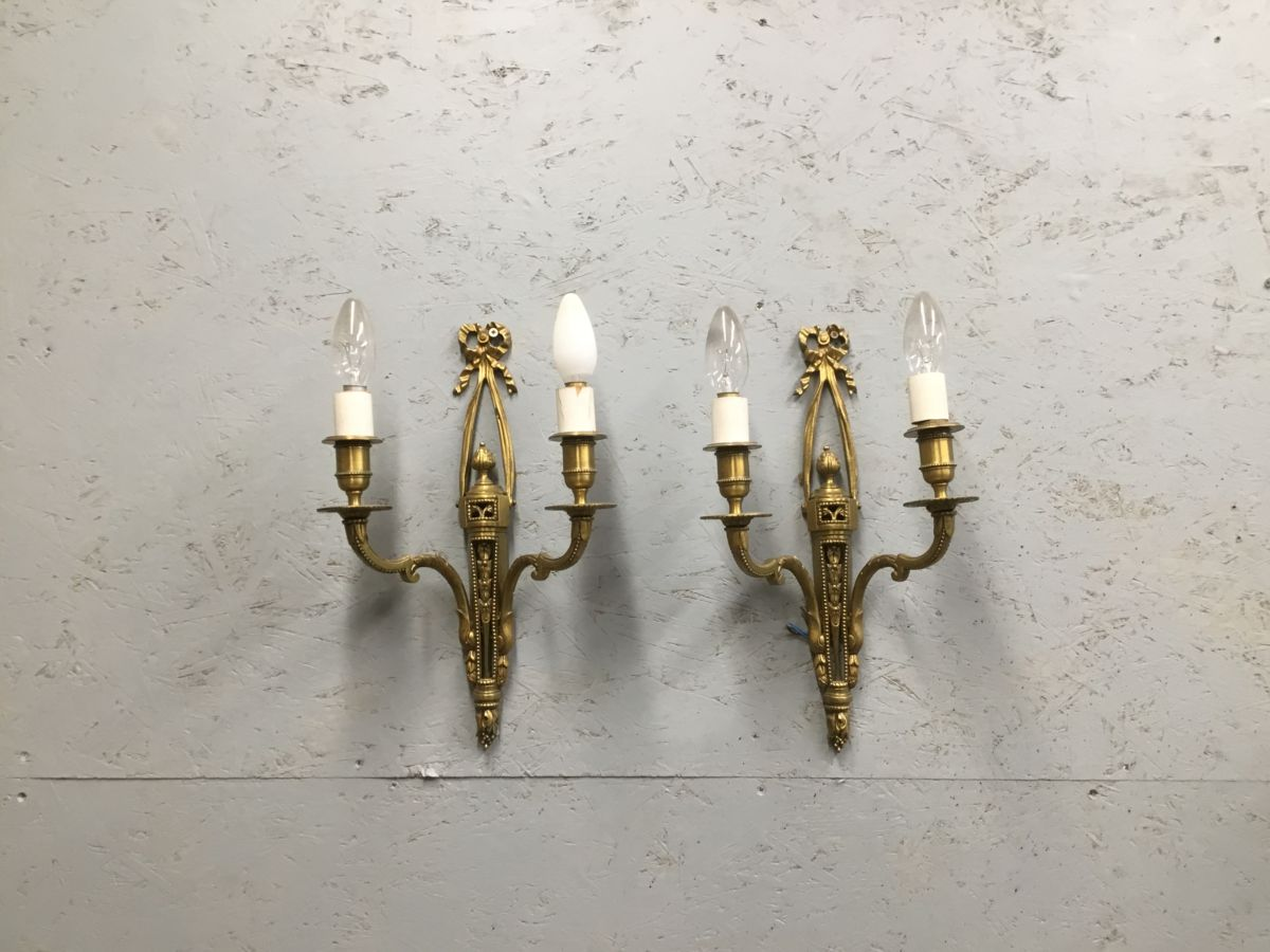Ornate Brass Double Light Pair
