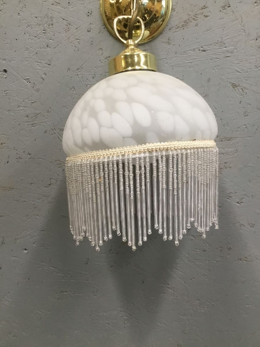 Hanging Glass Pendant With Beaded Frill