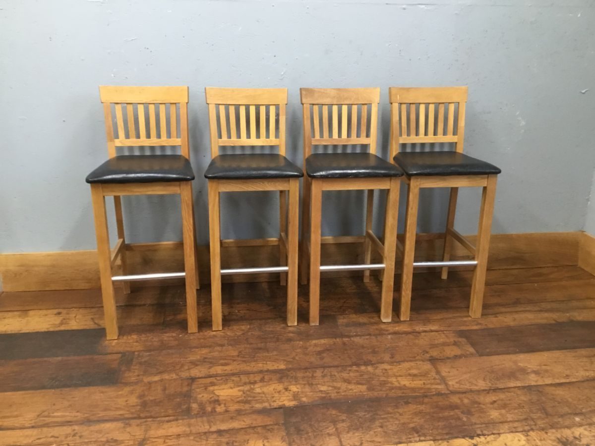 Wooden Bar Stool Set of Four