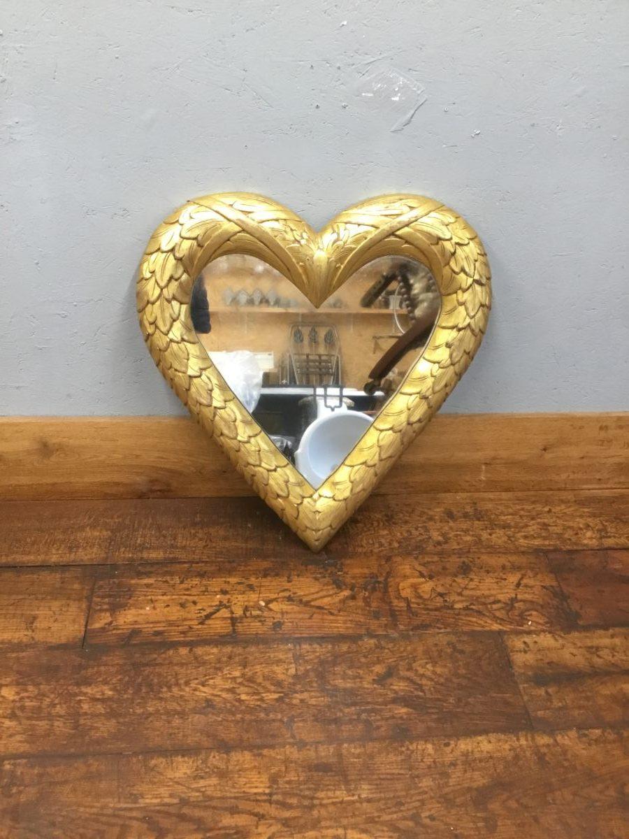 Gold Finish Heart Shaped Mirror