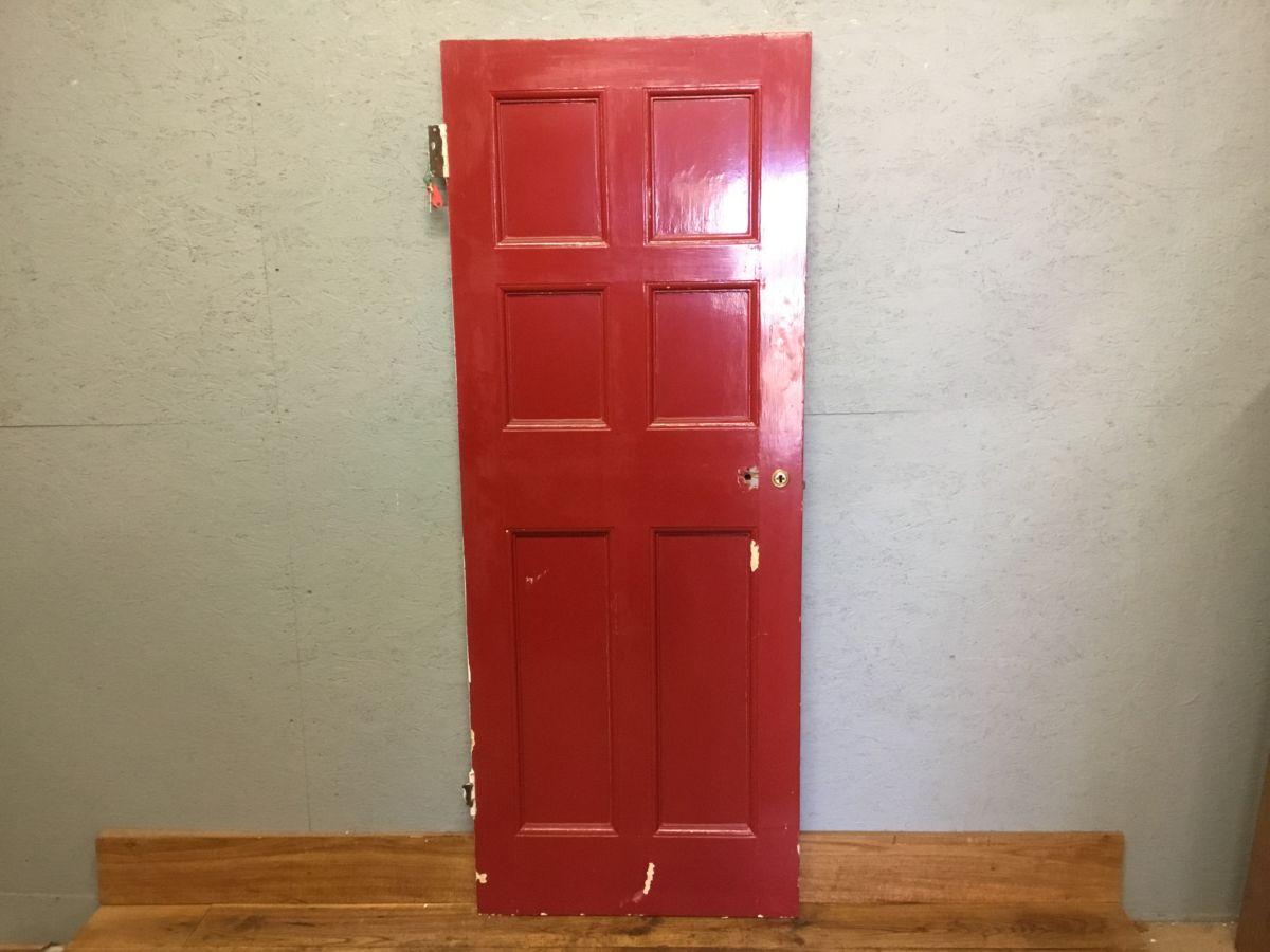 Red Painted Internal 6 Panel Door