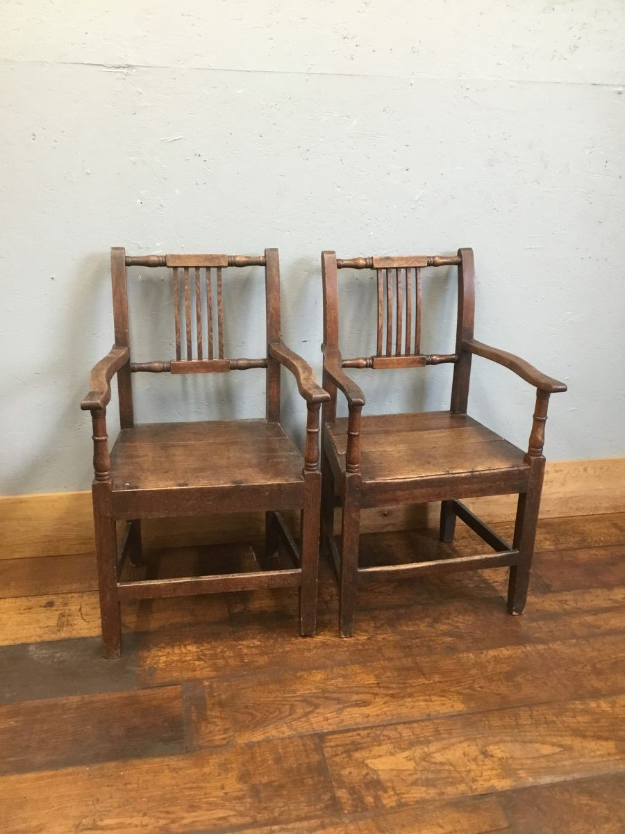 Dark Wood Armed Chairs
