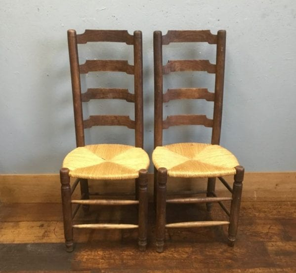 Rush Seat Chair Pair