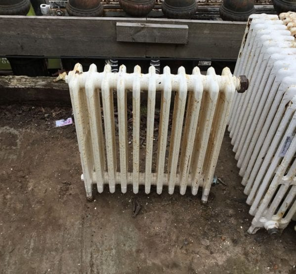 Reclaimed Small White 4 Bar Radiator