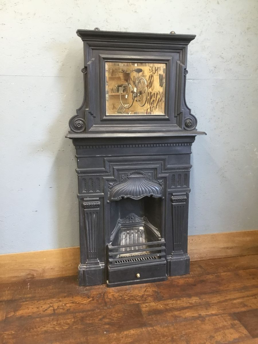 Victorian Cast Iron Fireplace & Mirror Overmantle
