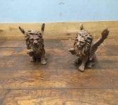 Cast Iron Winged Lion Pair