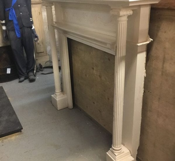 White Painted Wooden Column Detail Fire Surround