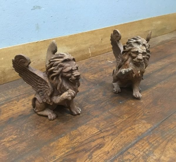 Cast Iron Winged Lion Pair