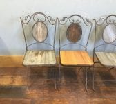 Oak & Metal Ornate Garden Chair Set