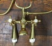 Brass Finish Telephone Tap Set
