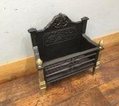 Cast Iron Fire Basket & Brass Front Pillars