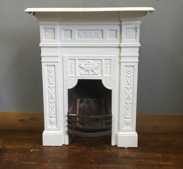 White Painted Cast Iron Fireplace