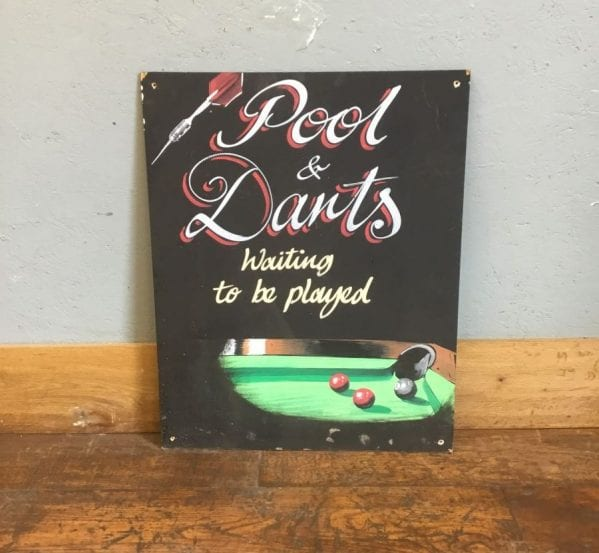 'Pool & Darts' Chalkboard Sign