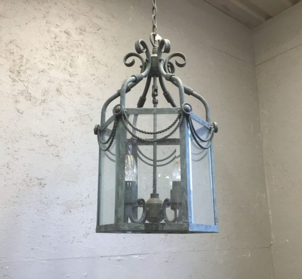Patina Blue Scroll Detailed Lantern