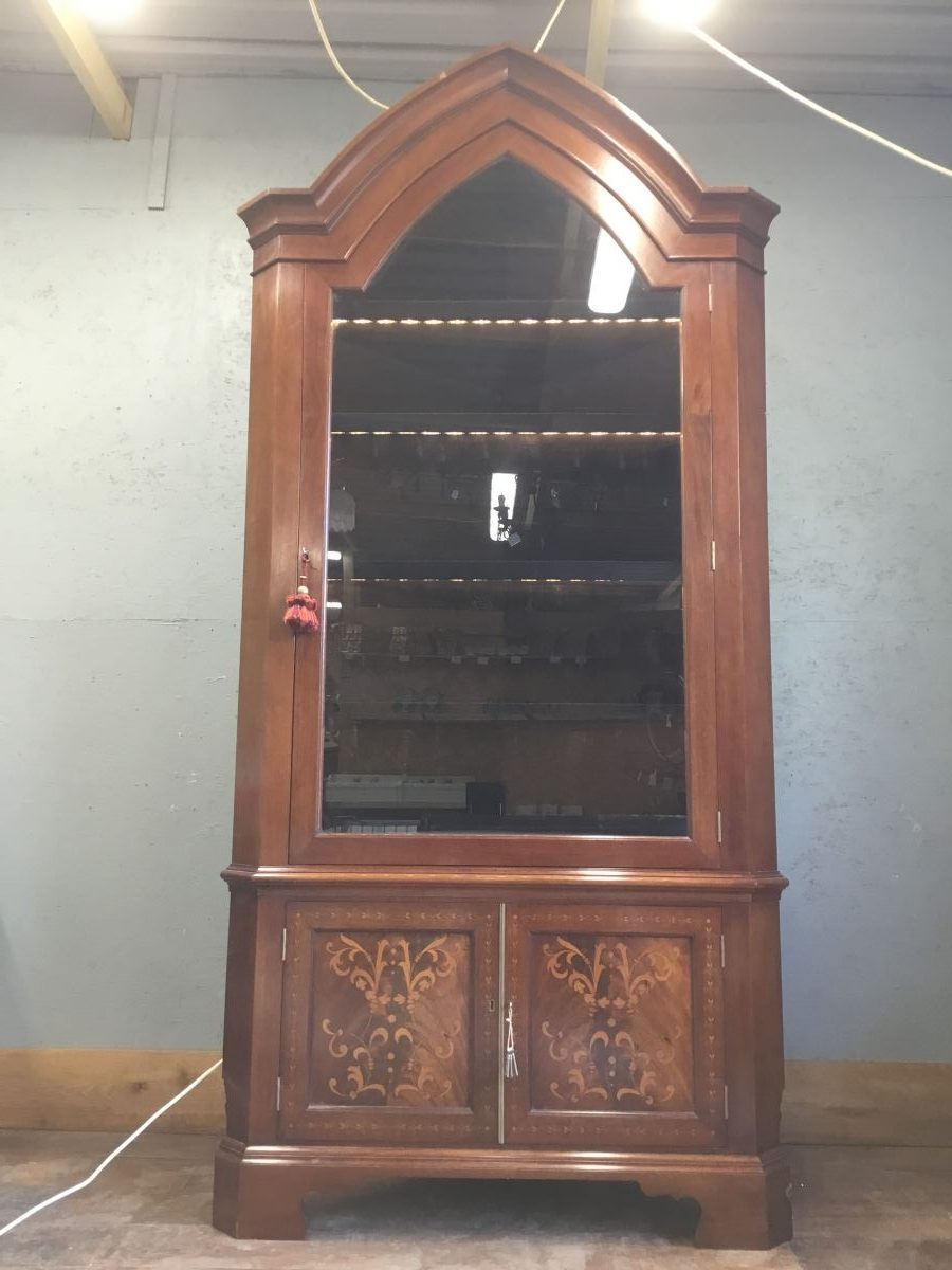 Reclaimed Lighted Glass Fronted Corner Cabinet