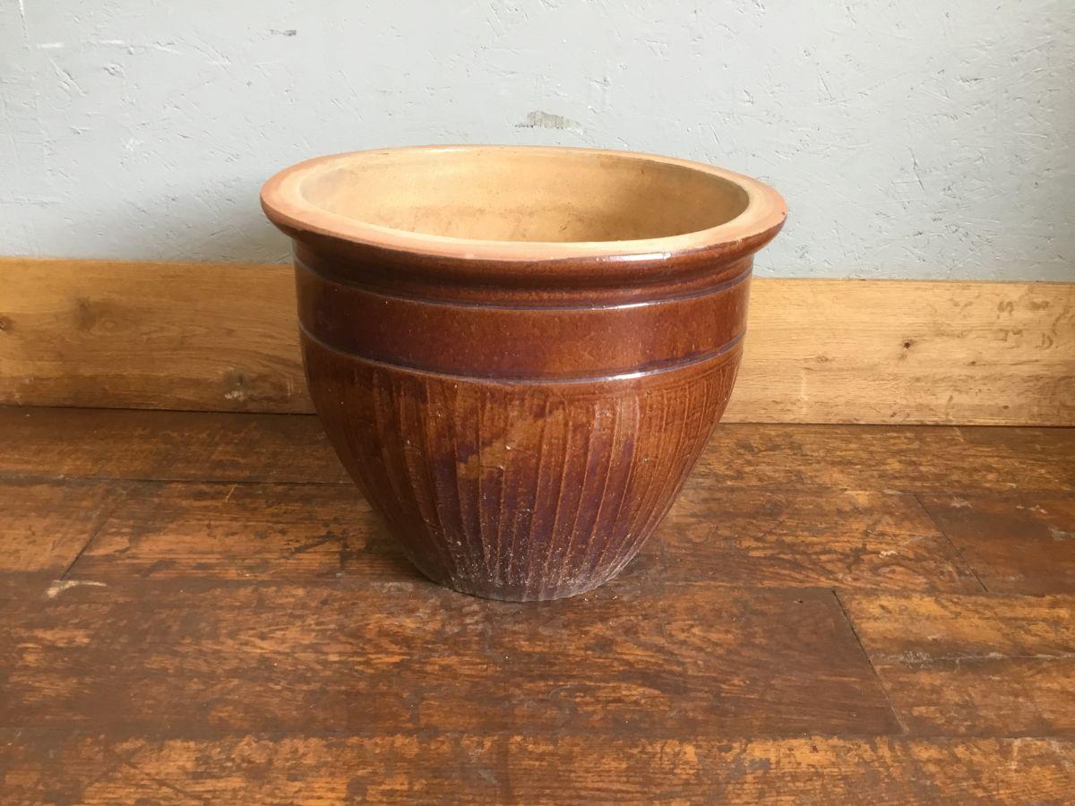 Large Glazed Brown Flower Pot