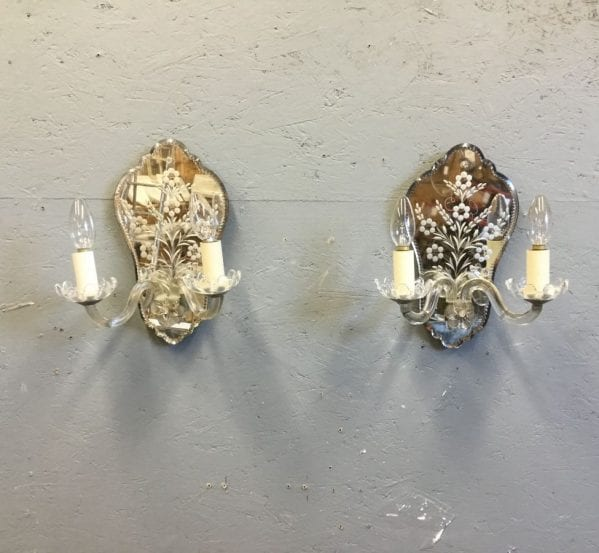 Glass Armed Mirrored Sconce Pair