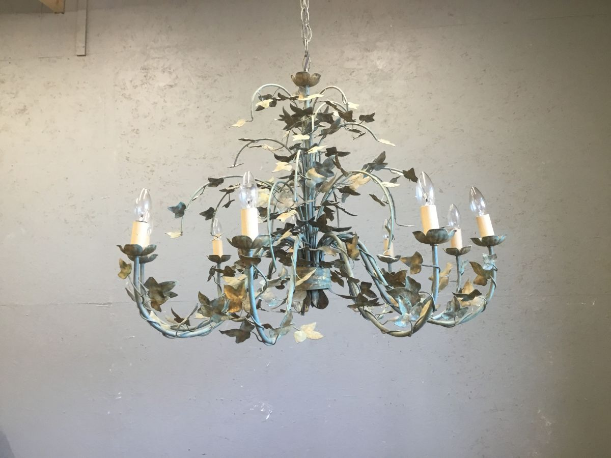 Blue Patina Leaf Detail Chandelier