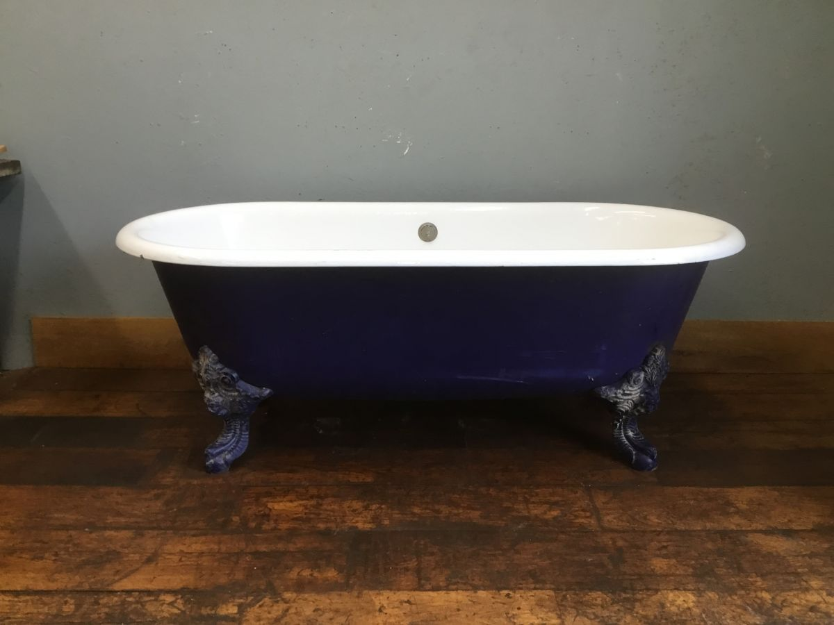 Dark Blue Painted Cast Iron Double Ended Bath