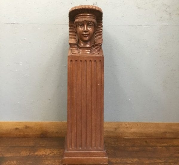 Carved Wood Boy Bust On Plinth
