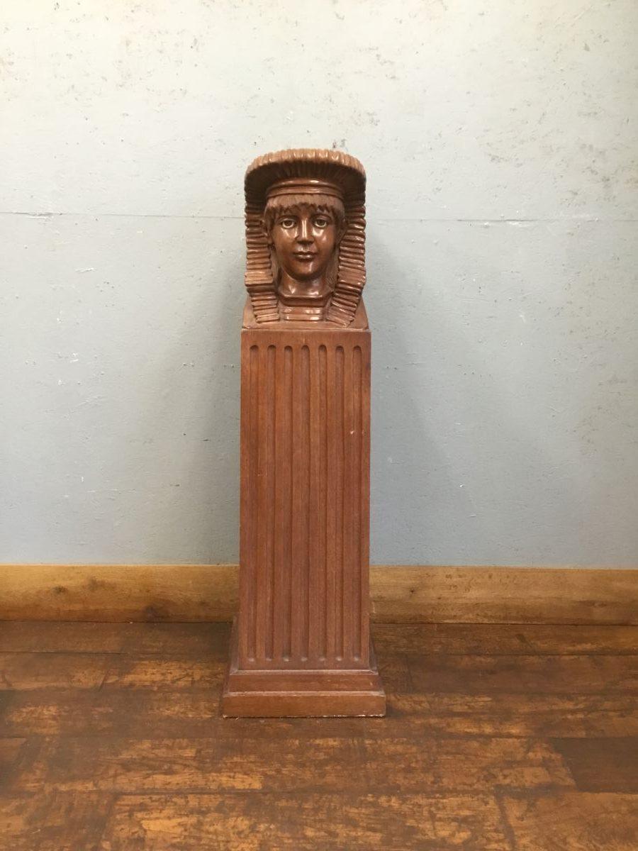 Carved Wood Boy Bust On Plinth