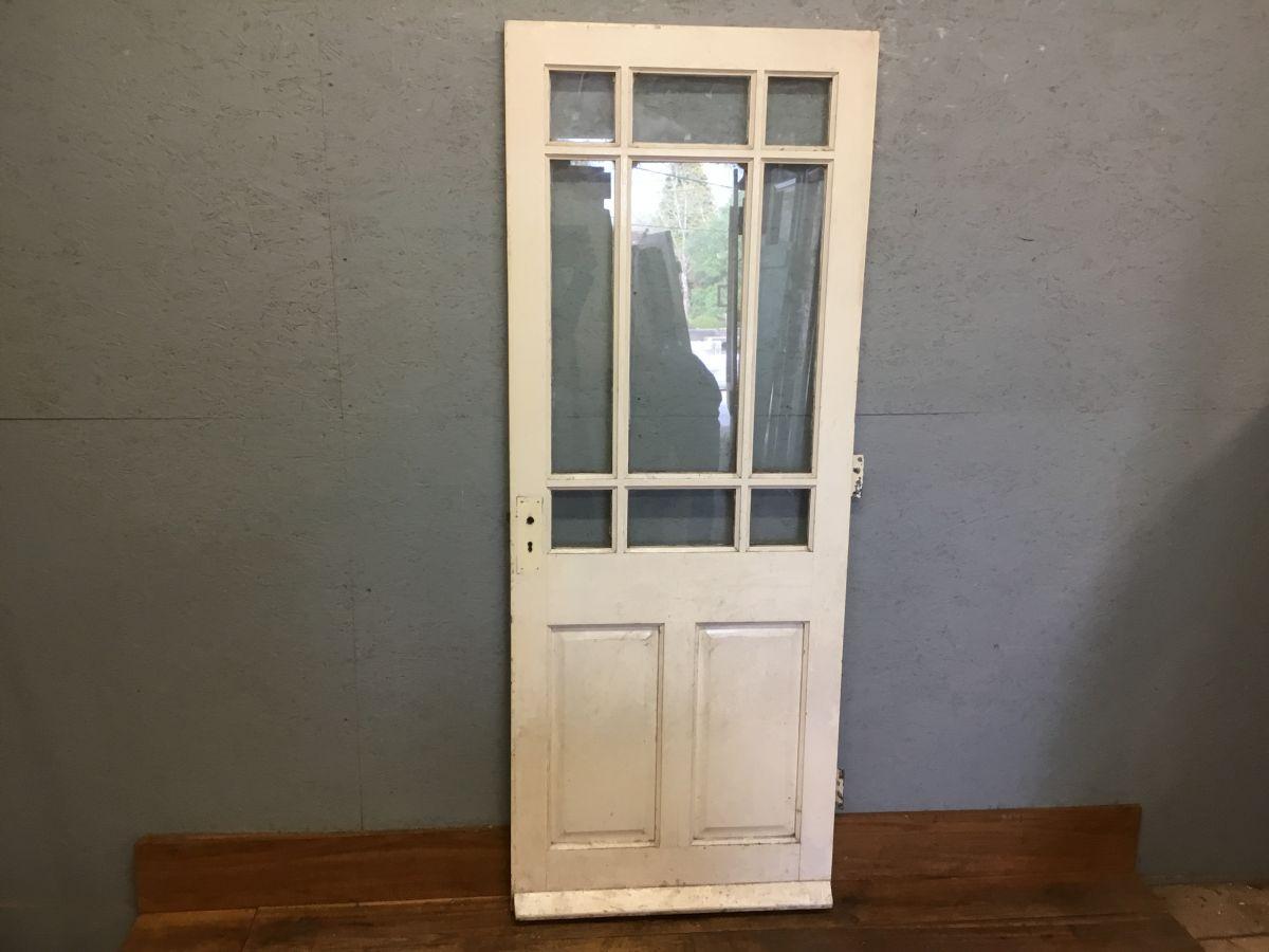 Reclaimed Painted Half Glazed External Door