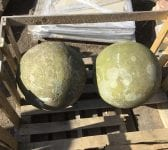 Ornamental Victorian Sandstone Ball Pair