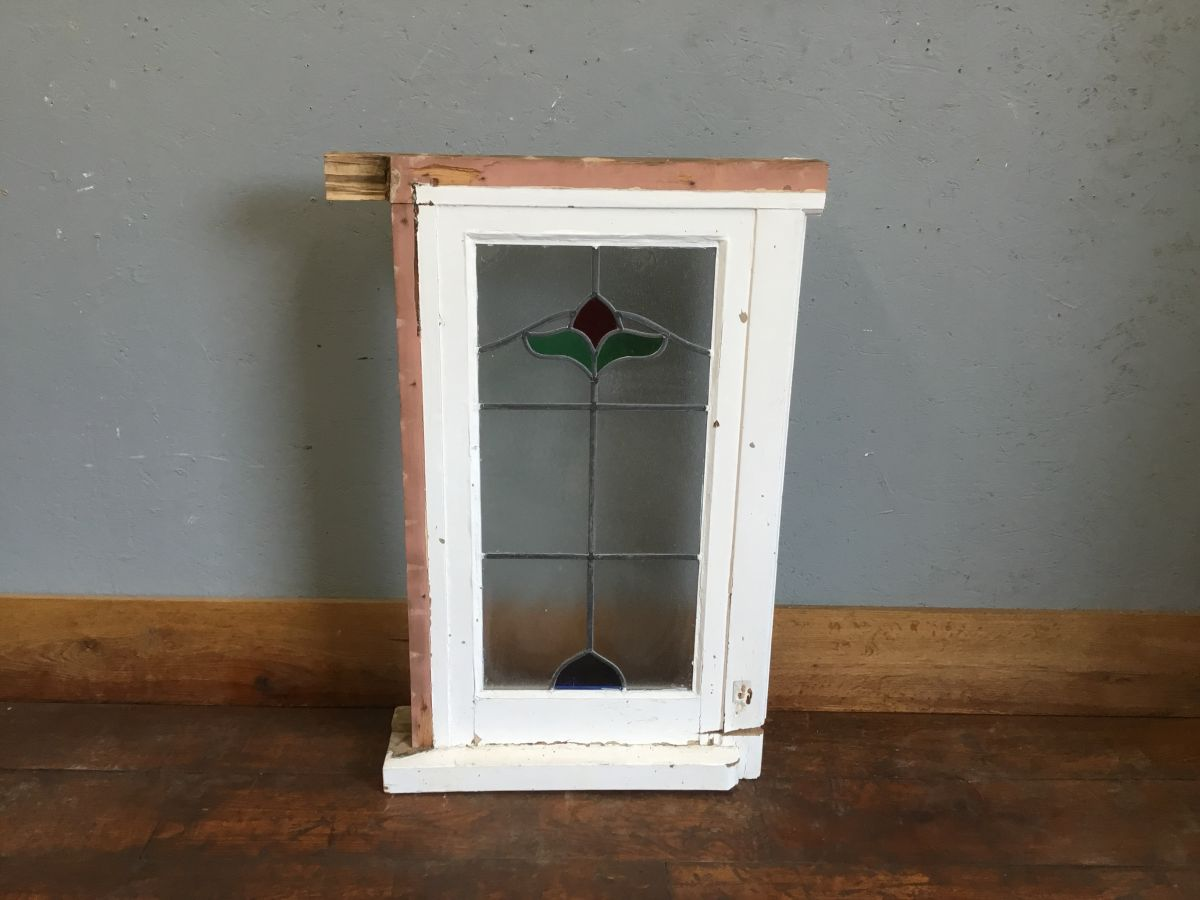 Rectangular Reclaimed Stained Glass Window