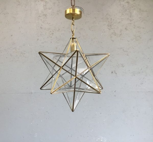 Brass & Glass Star Pendant Light